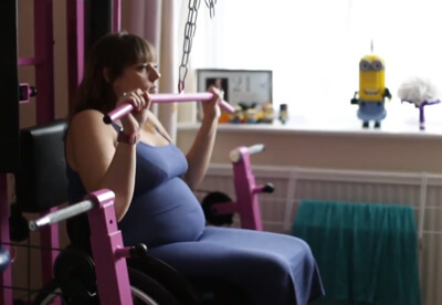 Kirsty using home gym