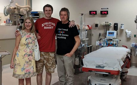 Stephen with his parents in hospital