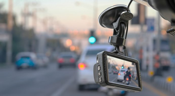 Surveillance dash camera in car
