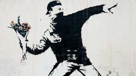 Banksy flower bomber