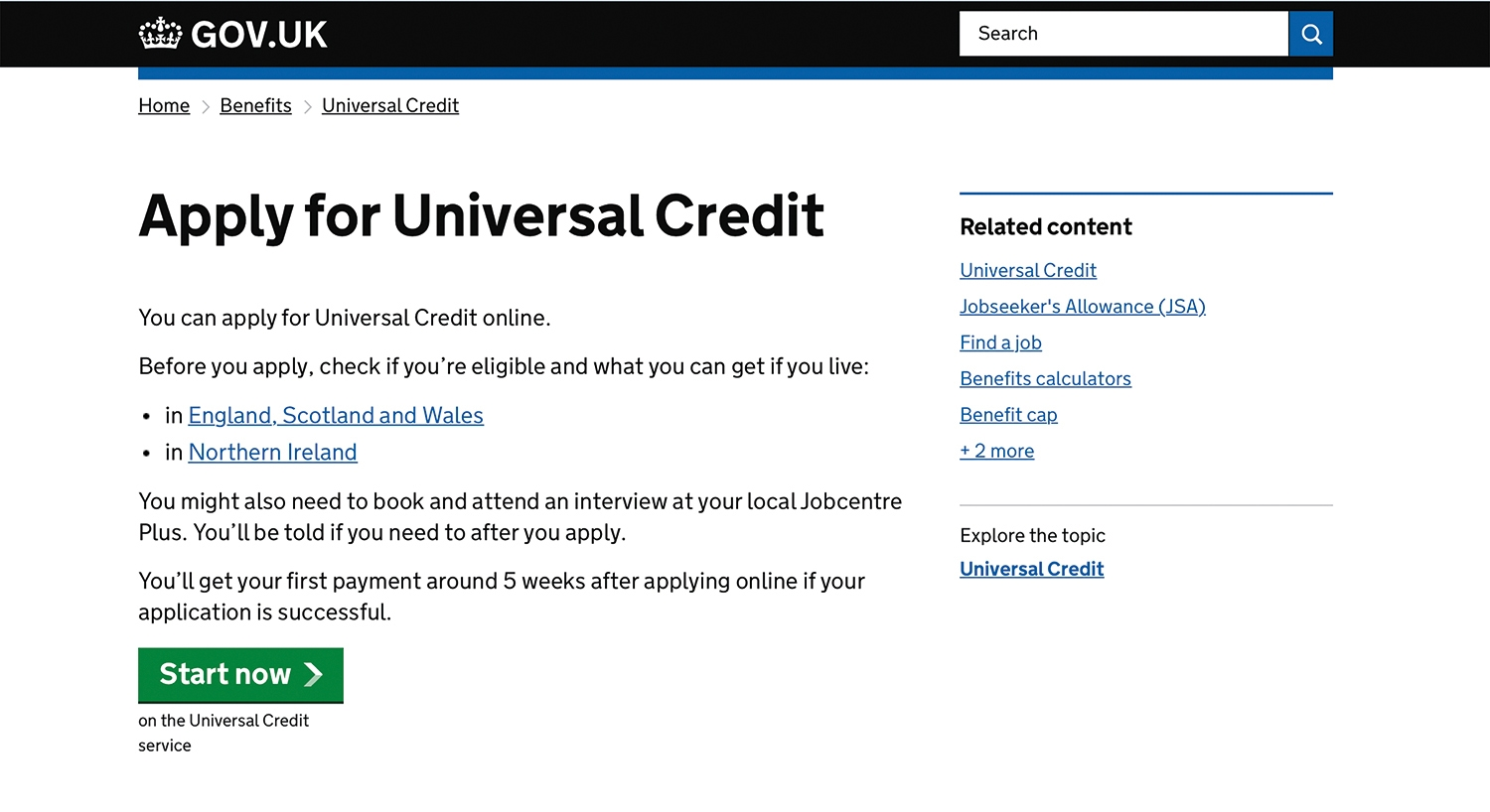 Apply for Universal Credit