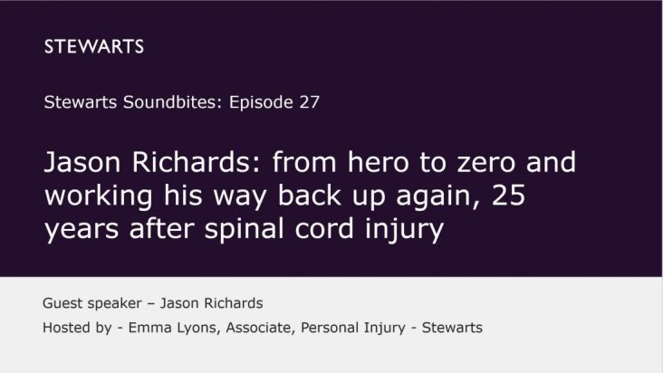 Jason Richards: from hero to zero and working his way back up again, 25 years after spinal cord injury.