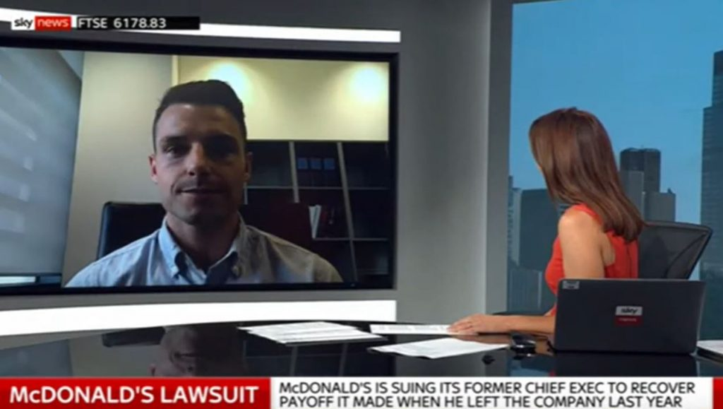 Joseph Lappin on Sky News talking about McDonald's and former CEO Steve Easterbrook dispute
