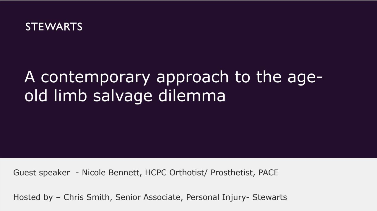 A contemporary approach t the age-old limb salvage dilemma - Nicole Bennett, HCPC Orthotist/Prosthetist, PACE