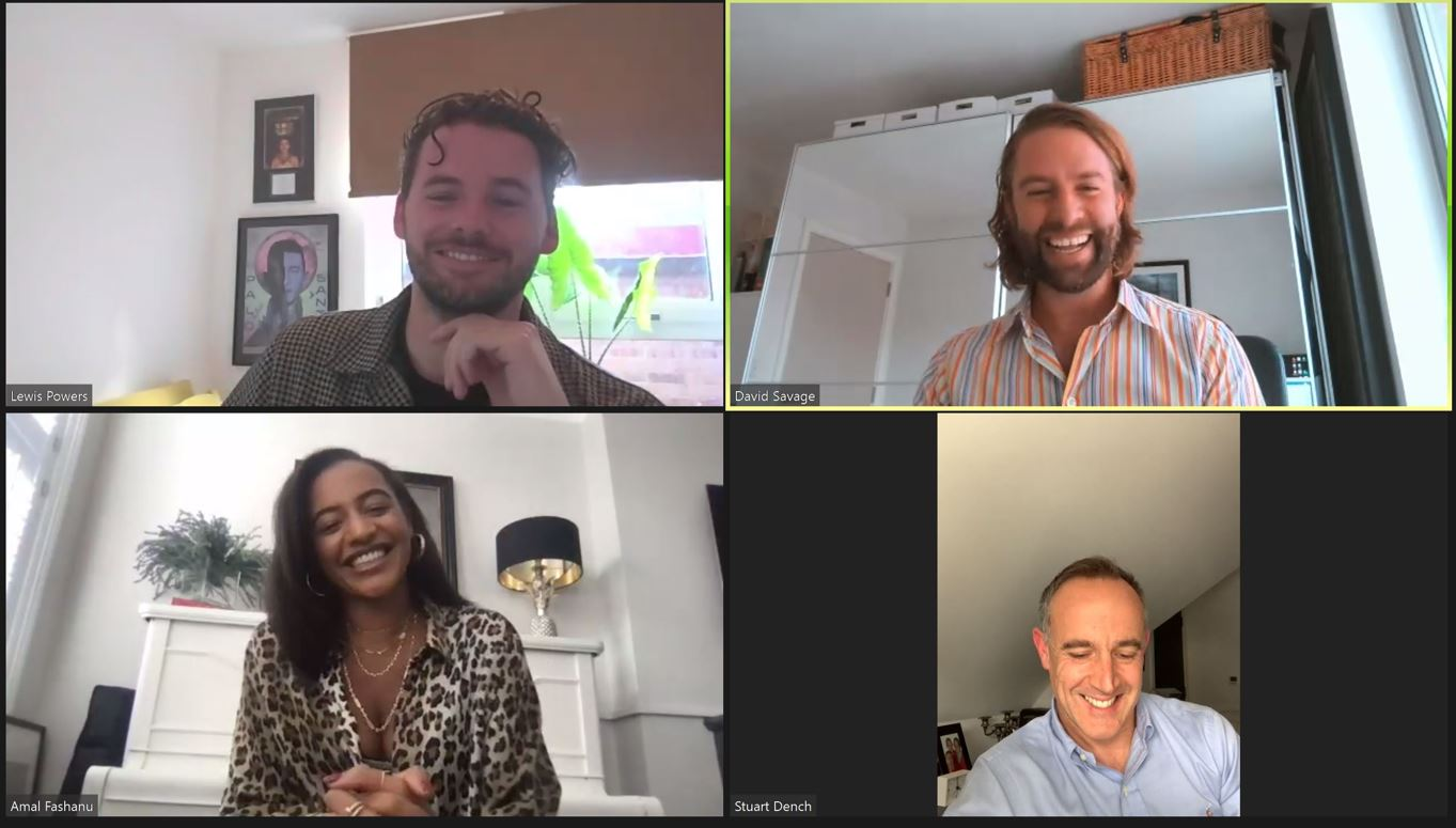 Amal Fashanu for a webinar as part of Stewarts Celebrates Pride 2021. With David Savage, Stuart Dench and Lewis Powers.