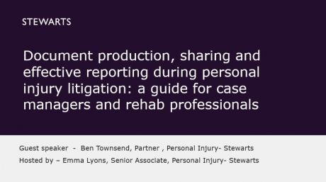 Document production, sharing and effective reporting during personal injury litigation